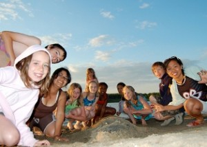 Summer campers on beach - Canadian summer camps, Canadian Camping Association